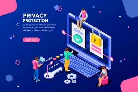 Infografía, banner con héroe protege datos y confidencialidad. Seguridad y protección de datos confidenciales, concepto con código de ahorro de caracteres y control de acceso. Ilustración de vector plano isométrico.