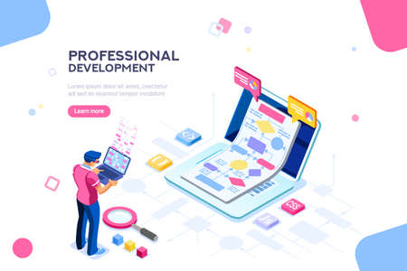 Programmer person and interactive technical software. Professional code for company concept with characters and text services. Flat isometric flowchart icons for infographic images vector illustration Illustration