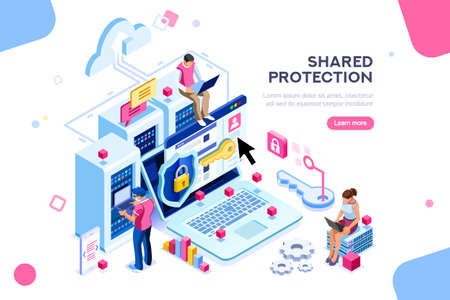 Online administrator, web hosting concept. Technician repair software. Hardware protection share infographic. Store safe server concept. Characters and text images, flat isometric vector illustration Stockfoto - 111830129