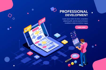 Persona programadora y software técnico interactivo. Código profesional para concepto de empresa con caracteres y servicios de texto. Iconos de diagrama de flujo isométrico plano para imágenes infográficas ilustración vectorial