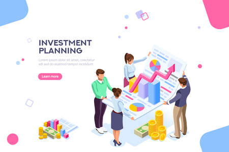 Creative income planning for sales. Teamwork, account company, increase corporate result. Growth concept with characters and text for services. Flat isometric infographic images vector illustration. Ilustración de vector