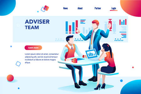 Analyst, financial banner. Planner, corporate earning calculate, data discussion. Consultant concept, characters, text on flat isometric emblem. Flowchart icons, infographic images vector illustration Stok Fotoğraf - 110219370