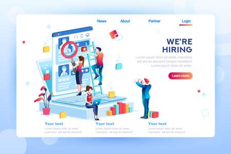 Presentación social para el empleo. Infografía para la contratación. Recursos de reclutamiento web, elección, investigación o formulario de llenado para selección. Solicitud de contratación de empleados. ilustración vectorial isométrica plana.