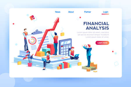 Balance financial value, management and administration concept. Characters, people engineering a plan. Statistic, calculating financial risk graph. Flat Isometric characters vector illustration. Banque d'images - 110219373