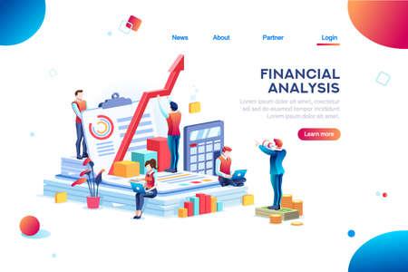 Equilibrar el valor financiero, el concepto de gestión y administración. Personajes, gente diseñando un plan. Estadística, cálculo de gráfico de riesgo financiero. Ilustración de vector de personajes planos isométricos.