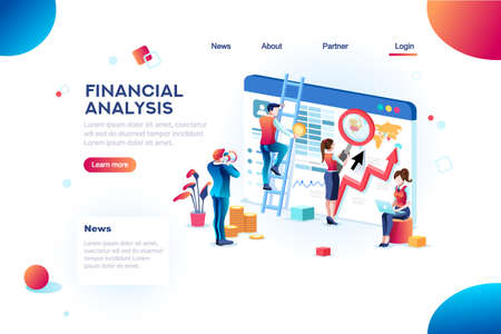 財務アナリスト。ウェブサイトの分析の概念、小さな社会的プレゼンテーション、拡大インフォグラフィック。文字とテキストでグローバル職業の概念を研究します。平面アイソメベクトルのイラストレーション。