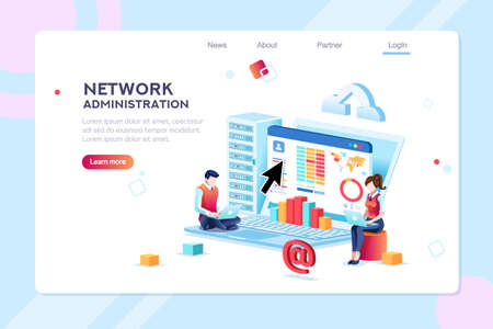 Data center repair information, administrator on network, lan concept. Character monitor and support, admin of website. Banner infographic icons flat isometric emblem flowchart vector illustration. Standard-Bild - 110219378