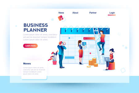 Time management. Hours planning and saving. Infographic, desktop control of calendar job. Target project schedule on desk concept with character and text. Flat isometric images, vector illustration. Vettoriali