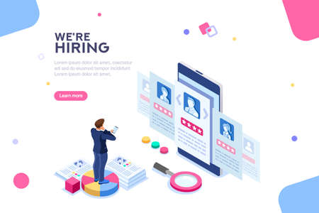 Social presentation for employment. Infographic for recruiting. Web recruit resources, choice, research or fill form for selection. Application for employee hiring. flat isometric vector illustration. Vectores