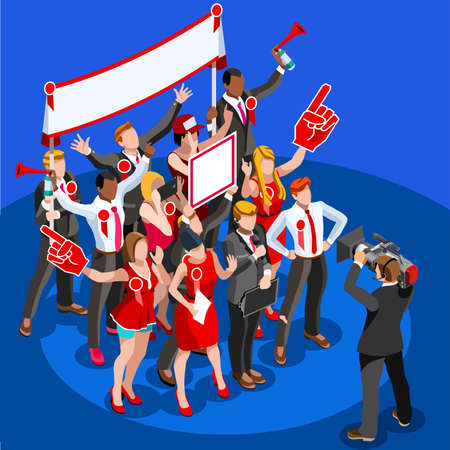 Symbol of republican government. Decision of voter. Democracy campaign. Choice of politics part, a young symbolic day. Election poll, ballot, Vote for presidential. Patriotism concept with characters. Illustration