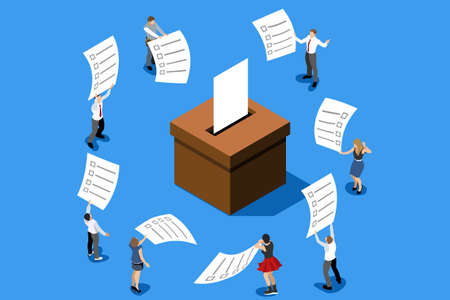 Hand putting label. Election poll about vote. Ballot, democracy decision for government. Campaign for choice. Politics republican symbol on ballot-box. Flat isometric infographic vector illustration