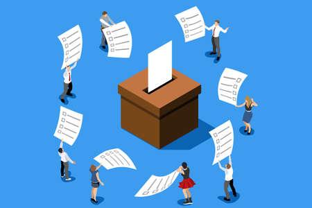 Hand Putting Label. Wahlumfrage zur Abstimmung. Stimmzettel, Demokratieentscheidung für die Regierung. Kampagne zur Auswahl. Republikanisches Symbol der Politik auf Wahlurne. Flache isometrische Infografik-Vektorillustration