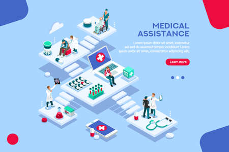 Persons at office, medical assistance. Patient room with healthcare insurer. Clinic insure a doctor. Insurance and assistance for physician. Concept with characters. Flat isometric vector illustration Çizim