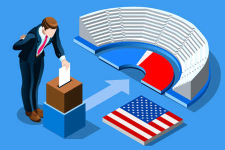 Symbol of republican government. Decision of voter. Democracy campaign. Choice of politics part, a young symbolic day. Election poll, ballot, Vote for presidential. Patriotism concept with characters. Banque d'images - 110045606