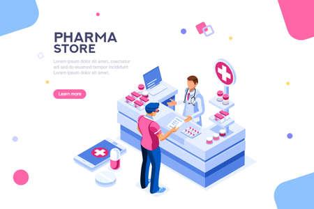 Infografica medico paziente e farmacista, elemento ricetta sana, medicamento per aiuto, farmaco professionale. Banner di computer e pillole. Immagini del cliente in negozio. Illustrazione vettoriale isometrica piatta.