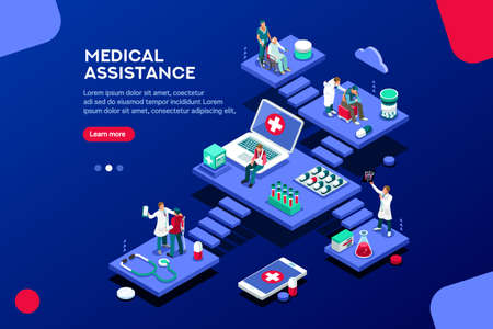 Persons at office, medical assistance. Patient room with healthcare insurer. Clinic insure a doctor. Insurance and assistance for physician. Concept with characters. Flat isometric vector illustration Illustration