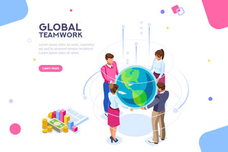Search idea, new meeting profit, worker partner, staff strategy. Businesswoman presentation. Confident company investor corporate global colleague standing. World of flat isometric vector illustration Ilustrace
