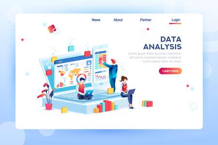Concepto de análisis de datos con personajes. Estrategia de motor, análisis, infografía del lugar de trabajo para desarrolladores, espacio de trabajo para optimización creativa. Plantilla para banner web, ilustración isométrica plana.