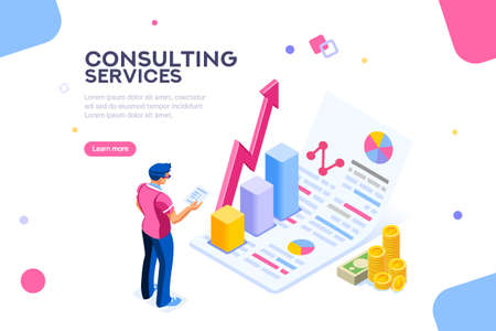 Isometric infographic of consult and administration. Corporate risk graph to engineering advertising value. Account planning grow, management or calculate report of audit. Business Vector illustration Illustration