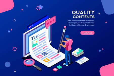 Blog bearbeiten, Infografik mit Bleistift posten. Forschungsförderung für SEO-Inhalte oder Marketing. Erstellen Sie ein Bildungskonzept mit Zeichen und Text. Flache isometrische Bilder, Vektorillustration.