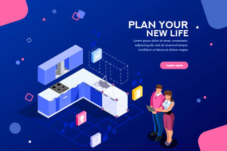 Real estate looking and buying, then moving cardboard on that space. Couple planning on online tablet interface together. Home research concept with characters. Flat isometric vector illustration. 向量圖像