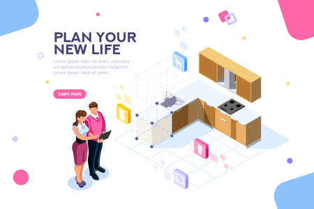 Real estate looking and buying, then moving cardboard on that space. Couple planning on online tablet interface together. Home research concept with characters. Flat isometric vector illustration. 版權商用圖片 - 108516877