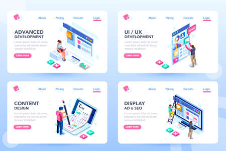 Develop, web development, process concept, webdesign advertising, engine for software content. Visual front infographic of program optimization concept. Characters flat isometric vector illustration. Vettoriali