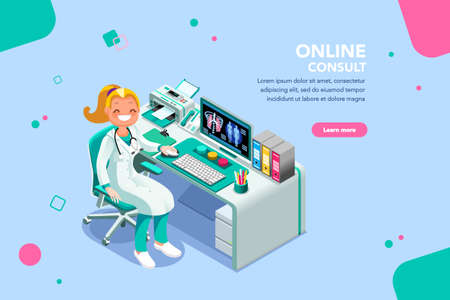 Concept with characters, treatment and exam patient, specialist cartoon. Examination, diagnosis, nurse work, physician at female consult infographic. Scanning person flat isometric vector illustration