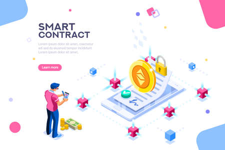 Cryptography infographics, contract concept. Contractor develop payment deal. Pay chain to block document for trade. Ethereum exchange. Smart concept with characters flat isometric vector illustration Illustration