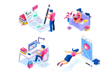 Homework, knowledge or examination writing infographic. Conference at phone, self mobile teaching for digital exam. Concept with character set. Flat isometric icons, Vector illustration.