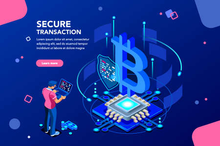 Server processing data backup, software hacking or lock hardware. Virtual rich transaction monetary success shield for business. Altcoins mine concept with character flat isometric vector illustration Иллюстрация