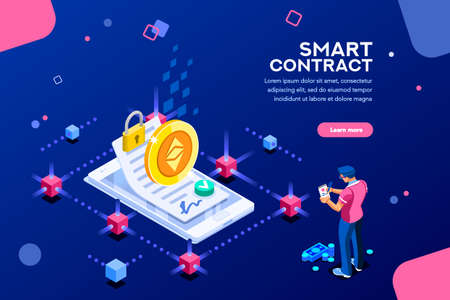 Cryptography infographics, contract concept. Contractor develop payment deal. Pay chain to block document for trade. Ethereum exchange. Smart concept with characters flat isometric vector illustration Vector Illustration