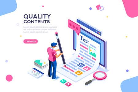 Modifica blog, pubblica infografica con la matita. Promozione della ricerca per contenuti seo o marketing. Crea un concetto di educazione con caratteri e testo. Immagini isometriche piatte, illustrazione vettoriale.