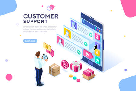 Commercial support for customer transaction on website. Consumer at website, buyer at electronic dashboard. Commerce or marketing concept with characters flat isometric images vector illustration. Archivio Fotografico - 109355442