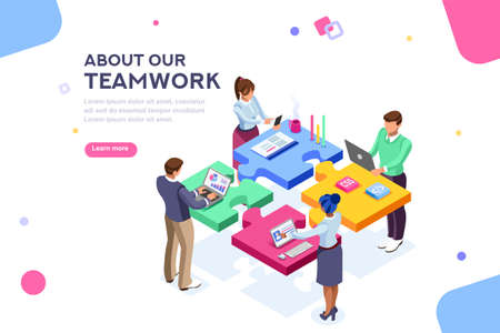 Startup employees. Goal thinking, infographic of puzzle. Cooperation construction by agency group to create a team. Concept for webdesign. White isolated concept with characters flat isometric Vector Stock fotó - 109414812