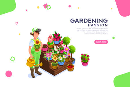 Bud concept, florist with seasonal more market descriptions or text. Bush and bouquet. Editable composition, female template or banner, concept with characters. Flat isometric vector illustration.