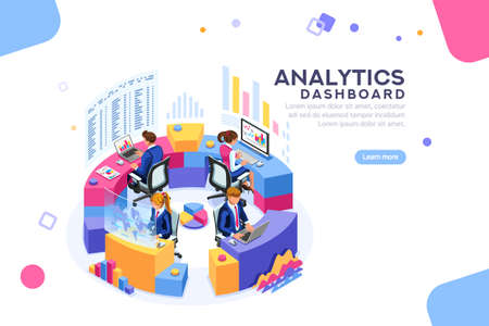 Charts key server statistic, performance indicators concept. Analyst on management process. analytics dashboard. Virtual screen showing sales concept. Characters on flat isometric Vector illustration. Vectores
