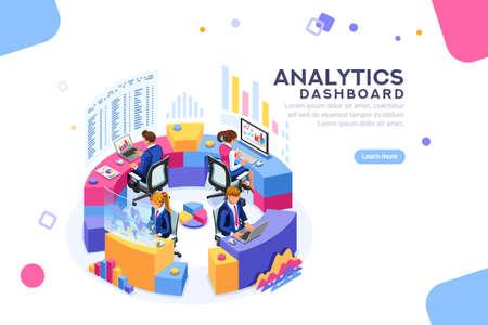 Gráficos de estadísticas del servidor clave, concepto de indicadores de rendimiento. Analista de procesos de gestión. panel de análisis. Pantalla virtual que muestra el concepto de ventas. Caracteres en la ilustración de Vector plano isométrico.