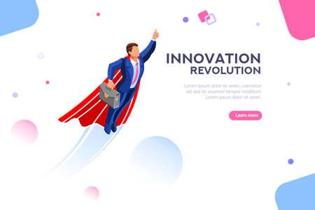 Technologische transformatie van digitaal succes naar een hoger inkomen. Verbeelding en innovatie, opstartplan. Volwassen winnaar in de ruimte. Concept met karakter met tekst. Plat isometrische vectorillustratie
