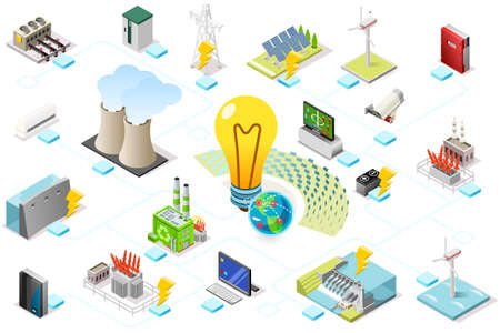 Power grid infographic, generating of power consumption. Energy element on line transmission. Station with high voltage socket. Flat isometric flowchart concept with characters. Vector illustration. Vettoriali