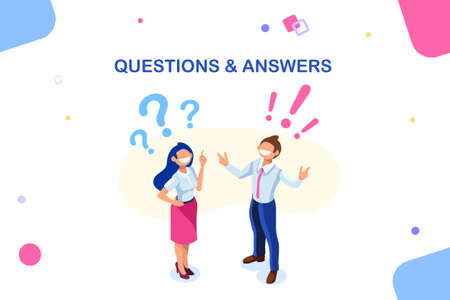 Creative confusion by happy question. Inspiration to solve innovation problem. Solution concept, benefit of growth, decision find. Concept with characters and text. Flat isometric vector illustration
