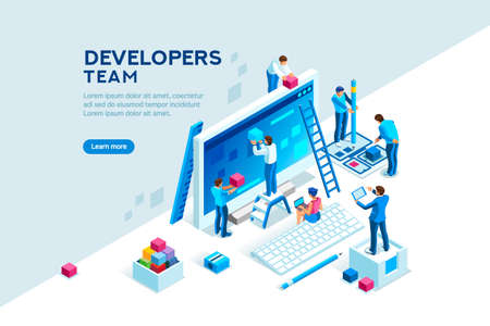 Engineer team at project development, template for developer. Coding develop, programmer at computer or workstation for business. Concept with character, flat isometric vector illustration Banque d'images - 109825461