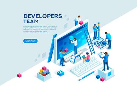 Team di ingegneri allo sviluppo del progetto, modello per sviluppatore. Sviluppo della codifica, programmatore su computer o workstation per lavoro. Concetto con carattere, illustrazione vettoriale isometrica piatta Vettoriali