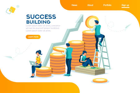 Alternative progress, building ad, investment management for company. Joint markets and move up deal. Bank career growth for success. Flat ambition concept with character isometric vector illustration Stock fotó - 110948937