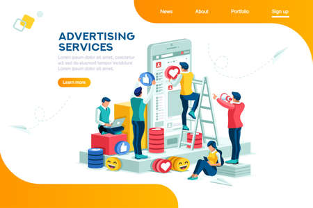 Services, large media network tool. Internet promotion, advertising, modern advertisement. Audience on phone as horizontal electronic place, plane with a small cup. Flat isometric Vector illustration. 向量圖像