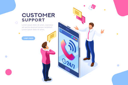 Product of e-shop. Shop available assistance, accessible always. Clock illustration for site or center. Isometric images of transaction customer support concept with characters. Vector illustration. Vectores