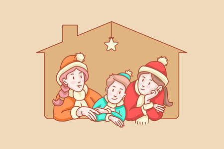 Home composition, soft tone, mono clip. Window with kids, are three on their house, looking in front and around. Hand drawn style vector design. Concept with characters. A doodle story illustration.