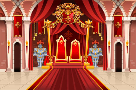 Door of the castle and windows, ancient rich medieval artwork with royal armor of knight guard. Image with throne of the king on the palace. Flags of fantasy fairy queen. Vector illustration. Vettoriali
