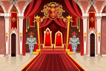 Tür des Schlosses und der Fenster, alte reiche mittelalterliche Kunstwerke mit königlicher Rüstung der Ritterwache. Bild mit Thron des Königs auf dem Palast. Flaggen der Fantasy-Fee-Königin. Vektor-Illustration.
