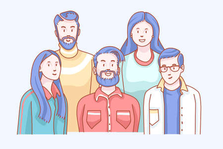 Friends. Soft front doodle, relationship sketch of behaviors. Smiling shot, looking and feeling like a group of gathering men. Concept with characters soft tone mono clip art hand drawn vector design.